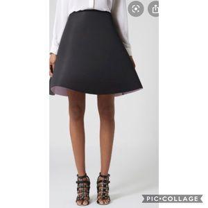 TopShop Black Scuba A-Line skirt Sz 2